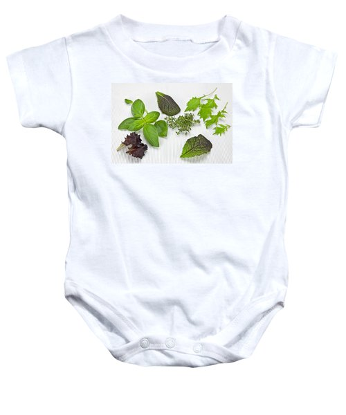 Salad Greens And Spices Baby Onesie by Joana Kruse