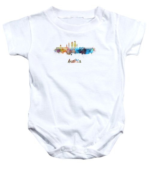 Austin Skyline In Watercolor Baby Onesie by Pablo Romero