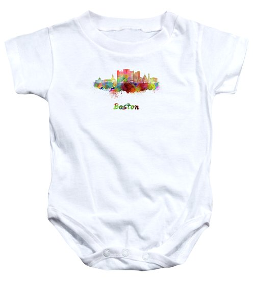Boston Skyline In Watercolor Baby Onesie by Pablo Romero
