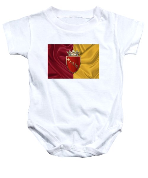 Coat Of Arms Of Rome Over Flag Of Rome Baby Onesie by Serge Averbukh