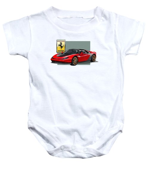 Ferrari Sergio With 3d Badge  Baby Onesie by Serge Averbukh