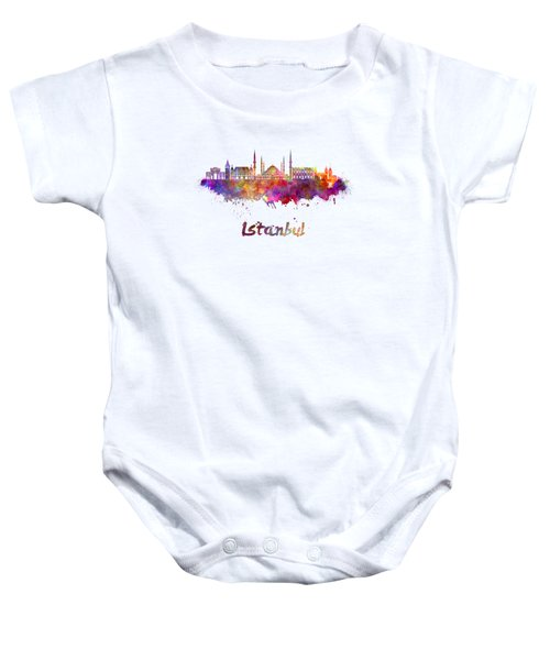 Istanbul Skyline In Watercolor Baby Onesie by Pablo Romero