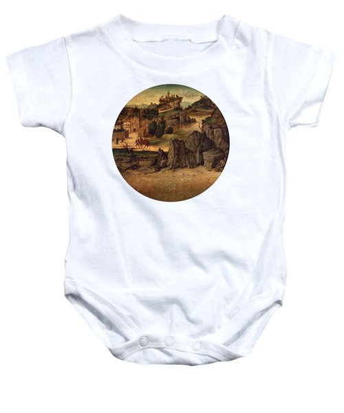 Landscape With Castles Baby Onesie by Bartolomeo Montagna