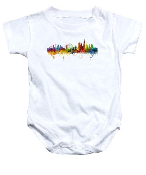 London England Skyline Panoramic Baby Onesie by Michael Tompsett