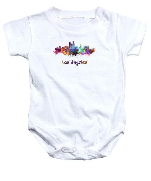 Los Angeles Skyline In Watercolor Baby Onesie by Pablo Romero