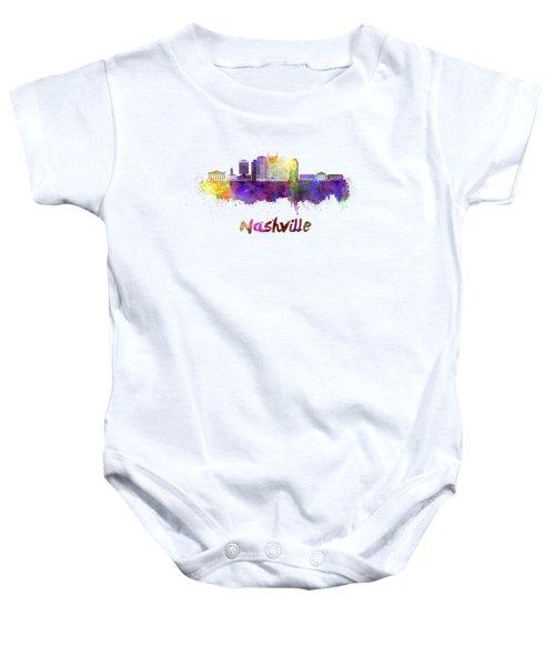 Nashville Skyline In Watercolor Baby Onesie by Pablo Romero
