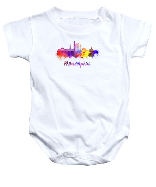 Philadelphia Skyline In Watercolor Baby Onesie by Pablo Romero