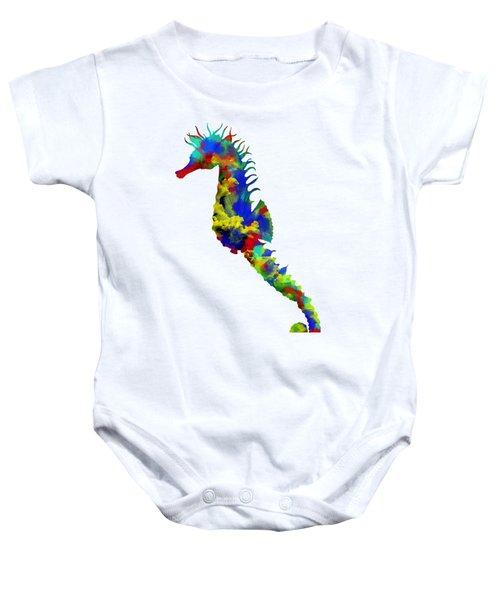 Seahorse Art Baby Onesie by Diana Van