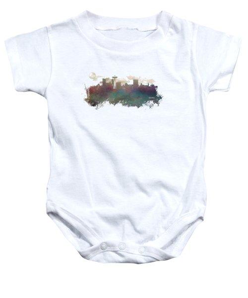 Seattle Washington Skyline Baby Onesie by Justyna JBJart