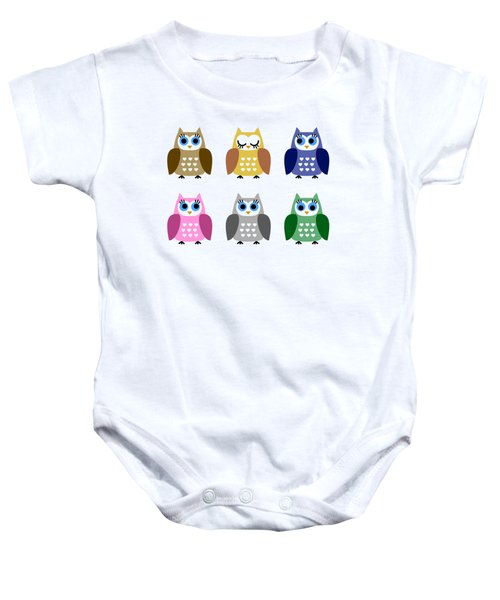 Set Of Six Little Owlets Baby Onesie by Miroslav Nemecek