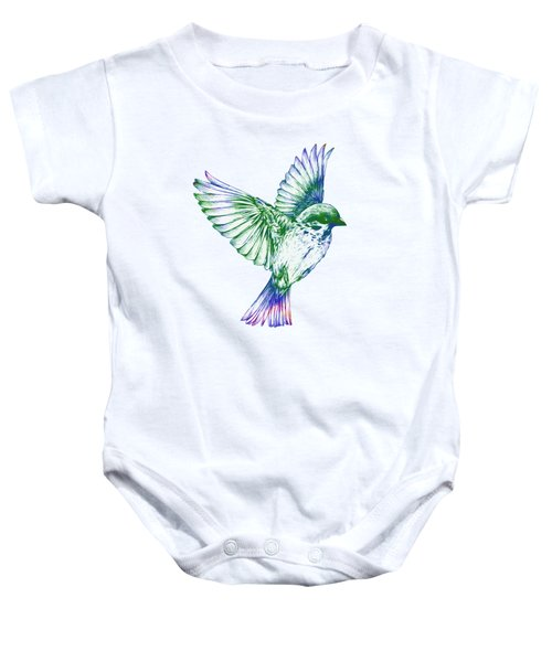 Textured Bird With Changeable Background Color Baby Onesie by Sebastien Coell