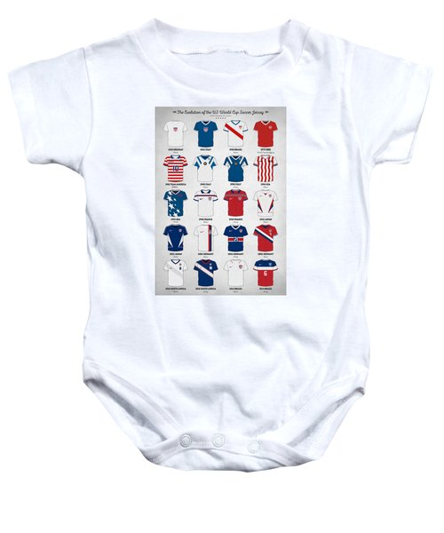 The Evolution Of The Us World Cup Soccer Jersey Baby Onesie by Taylan Soyturk