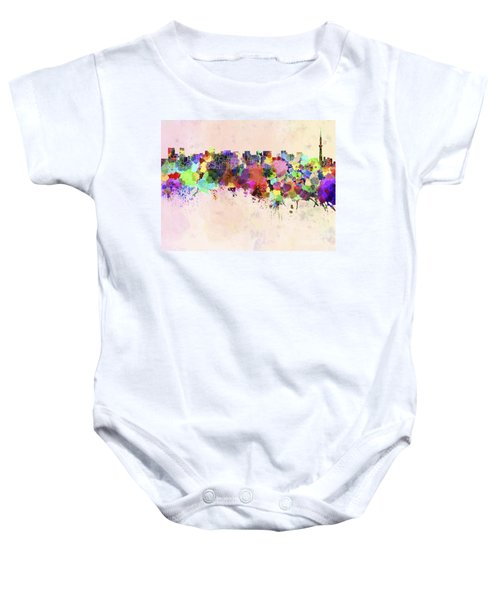 Tokyo Skyline In Watercolor Background Baby Onesie by Pablo Romero