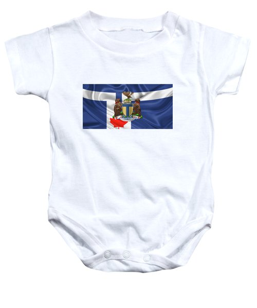 Toronto - Coat Of Arms Over City Of Toronto Flag  Baby Onesie by Serge Averbukh