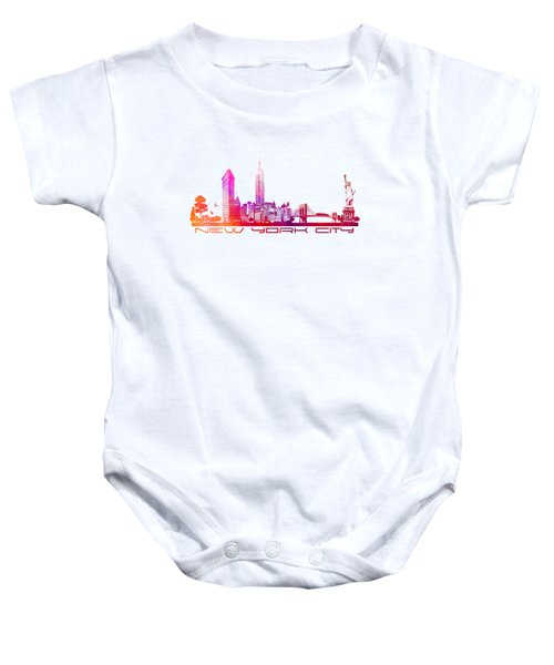 New York City Skyline Baby Onesie by Justyna JBJart