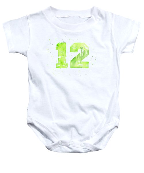 12th Man Seahawks Art Go Hawks Baby Onesie by Olga Shvartsur