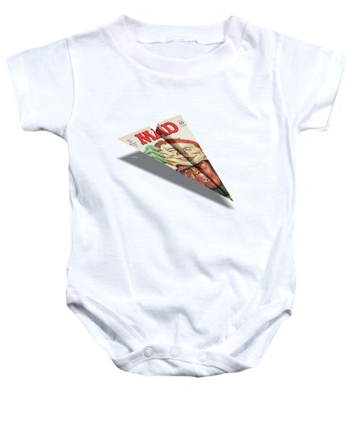 157 Mad Paper Airplane Baby Onesie by YoPedro