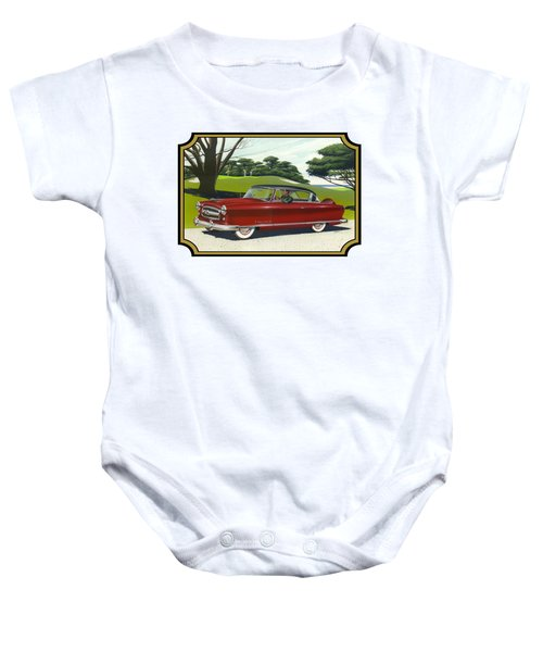 1953 Nash Rambler Car Americana Rustic Rural Country Auto Antique Painting Red Golf Baby Onesie by Walt Curlee