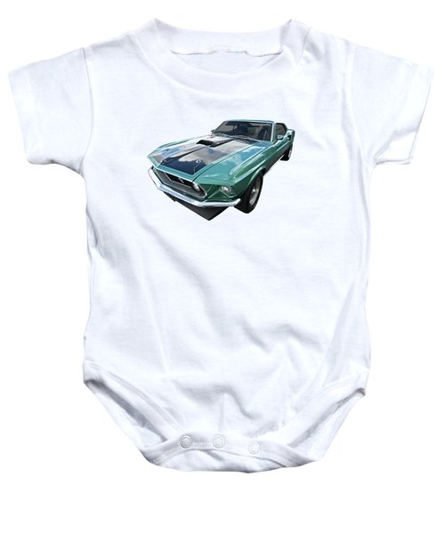 1969 Green 428 Mach 1 Cobra Jet Ford Mustang Baby Onesie by Gill Billington