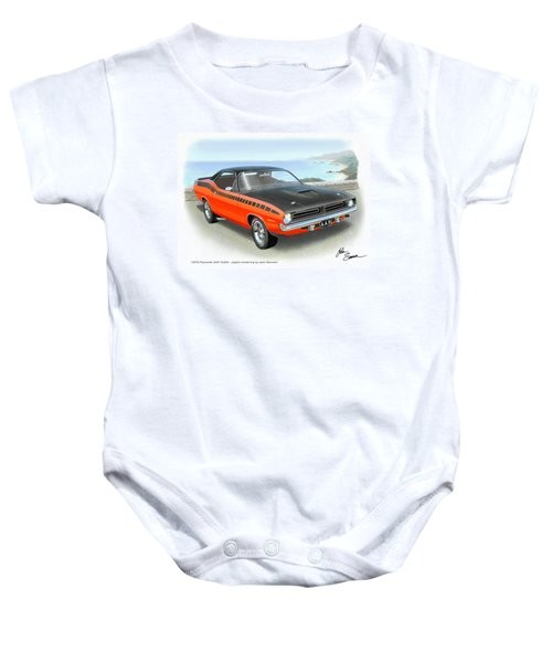 1970 Barracuda Aar  Cuda Classic Muscle Car Baby Onesie by John Samsen
