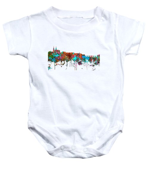 Basle Switzerland Skyline Baby Onesie by Marlene Watson