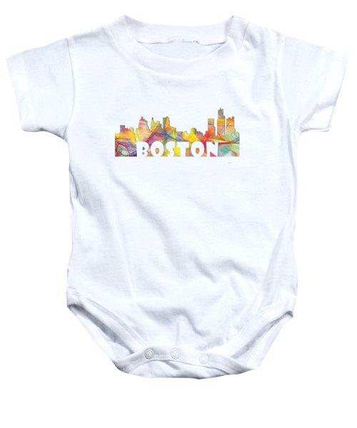 Boston Massachusetts Skyline Baby Onesie by Marlene Watson