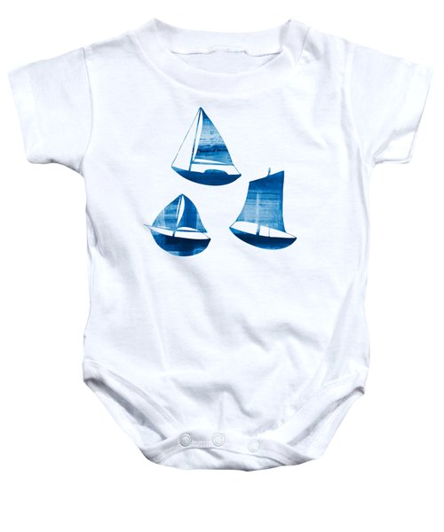 3 Little Blue Sailing Boats Baby Onesie by Frank Tschakert