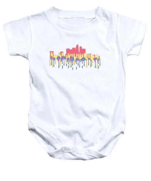 Los Angeles Ca Skyline Baby Onesie by Marlene Watson