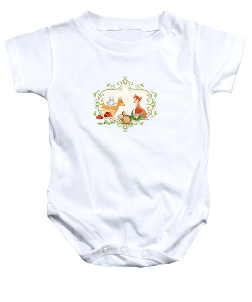 Woodland Fairytale - Animals Deer Owl Fox Bunny N Mushrooms Baby Onesie by Audrey Jeanne Roberts