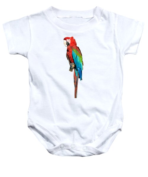 Red And Green Macaw Baby Onesie by George Atsametakis