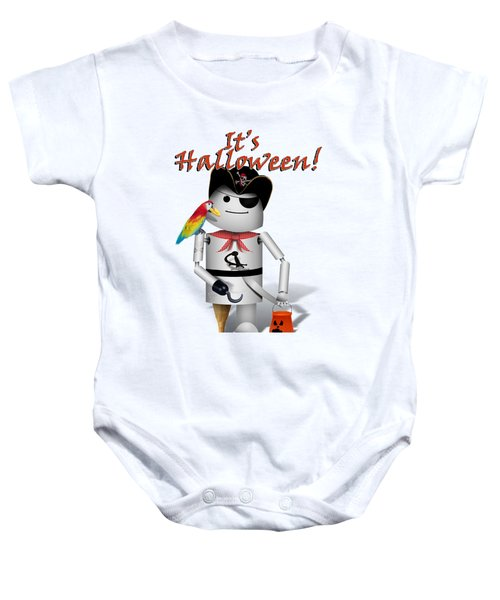 Trick Or Treat Time For Robo-x9 Baby Onesie by Gravityx9 Designs