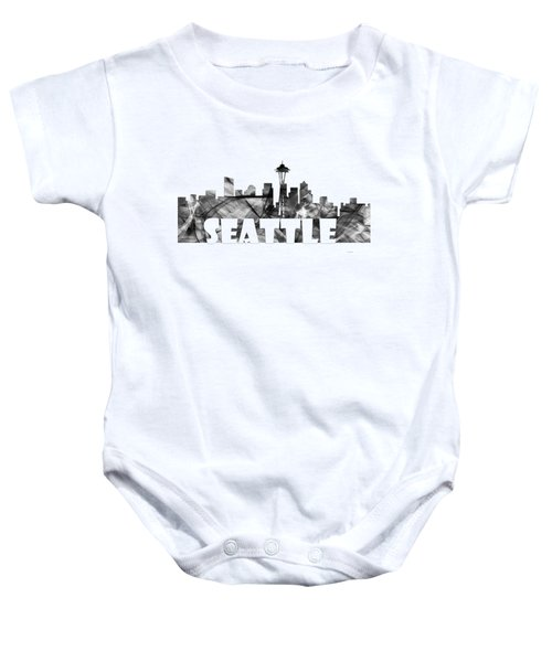 Seattle Washington Skyline Baby Onesie by Marlene Watson