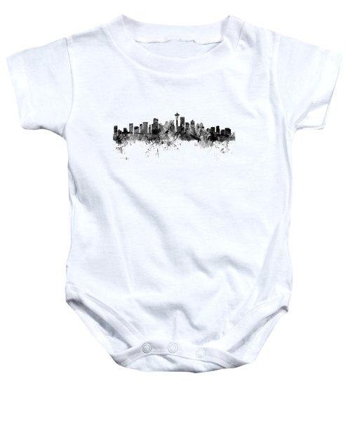 Seattle Washington Skyline Baby Onesie by Michael Tompsett