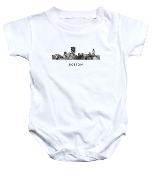 Boston Massachusetts Skyline Baby Onesie by Marlene Watson