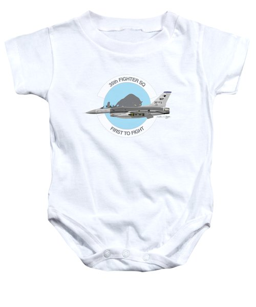 Lockheed Martin F-16c Viper Baby Onesie by Arthur Eggers