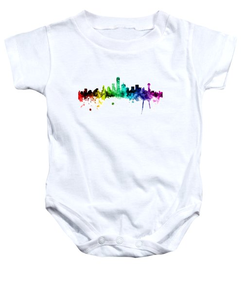 Dallas Texas Skyline Baby Onesie by Michael Tompsett