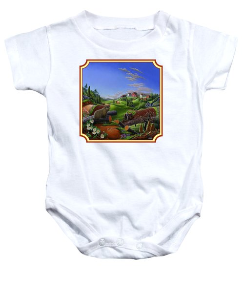 Americana Decor - Springtime On The Farm Country Life Landscape - Square Format Baby Onesie by Walt Curlee