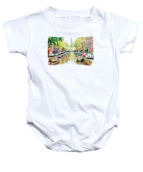 Amsterdam Canal 2 Baby Onesie by Marian Voicu