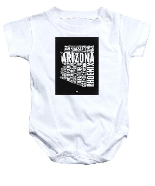 Arizona Black And White Word Cloud Map Baby Onesie by Naxart Studio