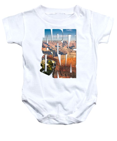 Arizona Typography - Grand Canyon At Sunset Baby Onesie by Gregory Ballos