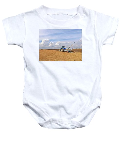 Ploughing After The Harvest Baby Onesie by Gill Billington