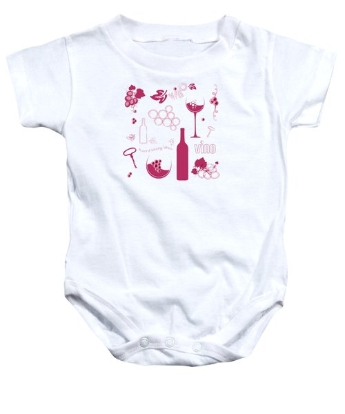 Wine Background Pattern Baby Onesie by Serena King