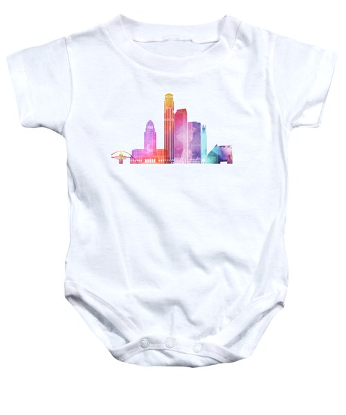 Los Angeles Landmarks Watercolor Poster Baby Onesie by Pablo Romero