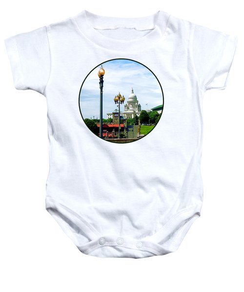 Capitol Building Seen From Waterplace Park Baby Onesie by Susan Savad