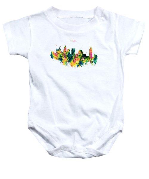 Atlanta Watercolor Skyline  Baby Onesie by Marian Voicu