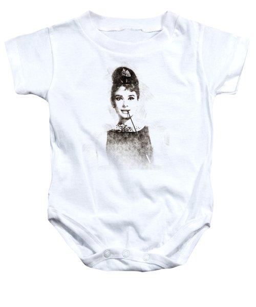 Audrey Hepburn Portrait 01 Baby Onesie by Pablo Romero