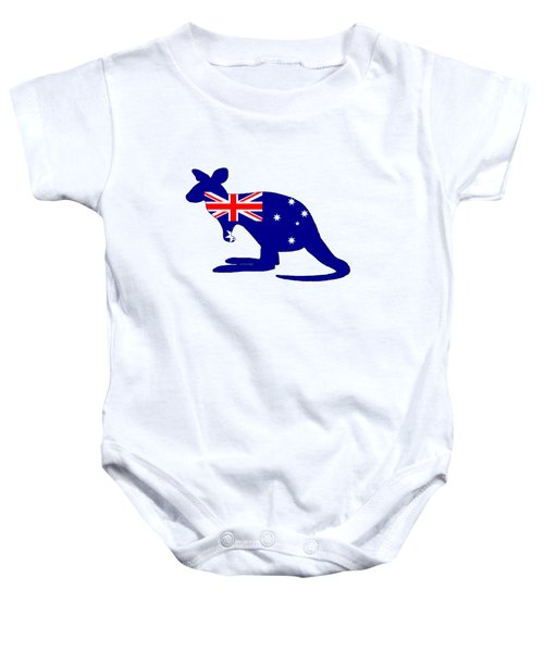 Australian Flag - Kangaroo Baby Onesie by Mordax Furittus