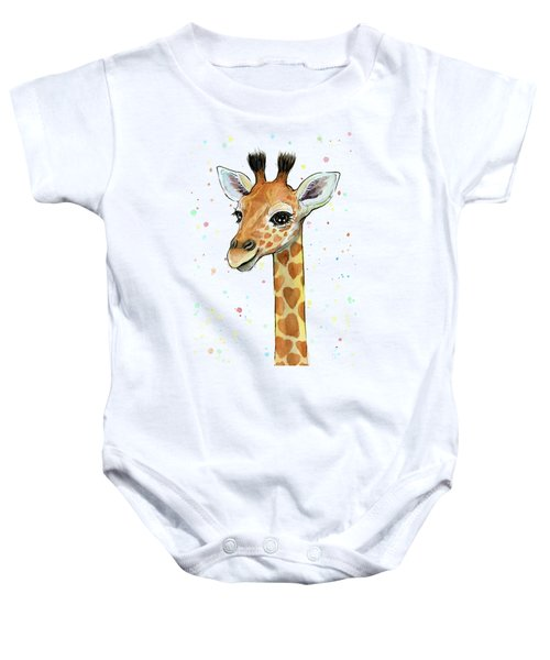 Baby Giraffe Watercolor With Heart Shaped Spots Baby Onesie by Olga Shvartsur