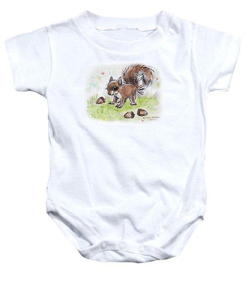 Baby Squirrel Baby Onesie by Maria Bolton-Joubert