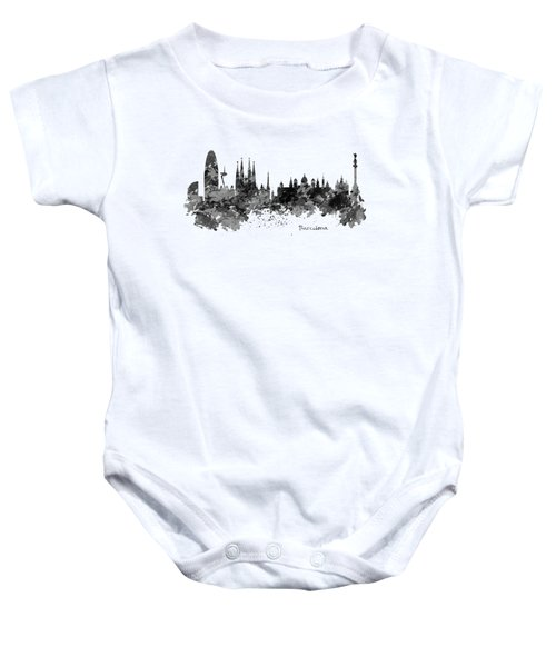Barcelona Black And White Watercolor Skyline Baby Onesie by Marian Voicu